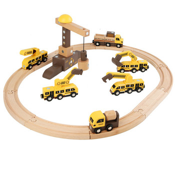 Wooden Train Set 40 Pcs Wooden Track & Exclusive Crane & Trains,Magic Engineering Vehicles,Robot Building Blocks Toy for 3+ Kids