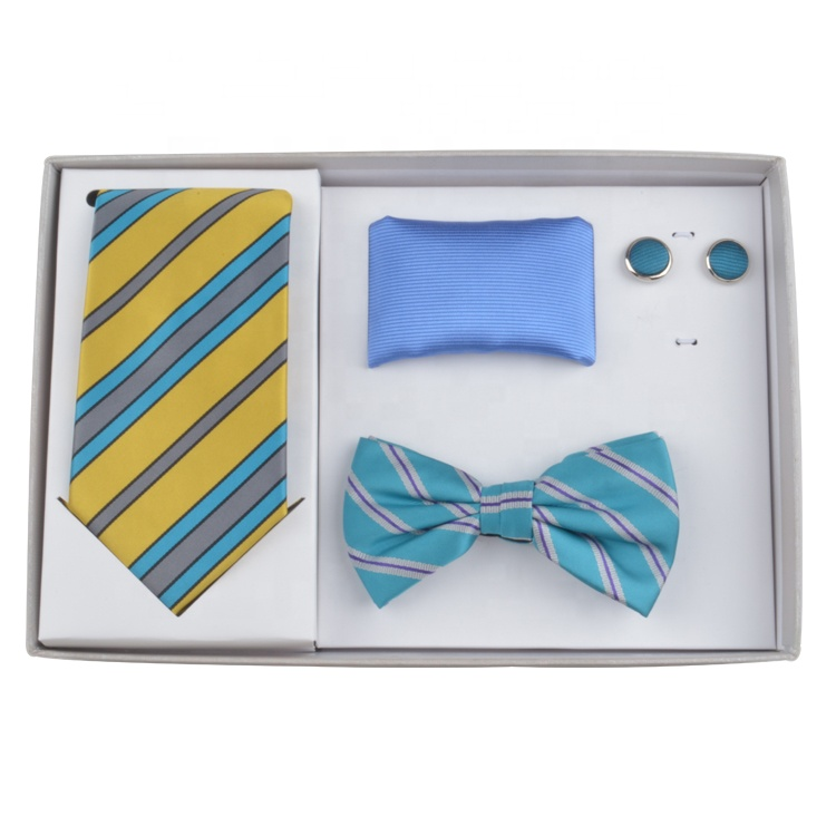 Hot sale Fashion combination with assorted design and color collocation mens Business tie bow tie gift Set For Sale With Box