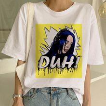 Billie Eilish Harajuku/футболка с рисунком, белая футболка с короткими рукавами и принтом американского рэпера, бесплатная доставка, мягкая эстетична...(China)