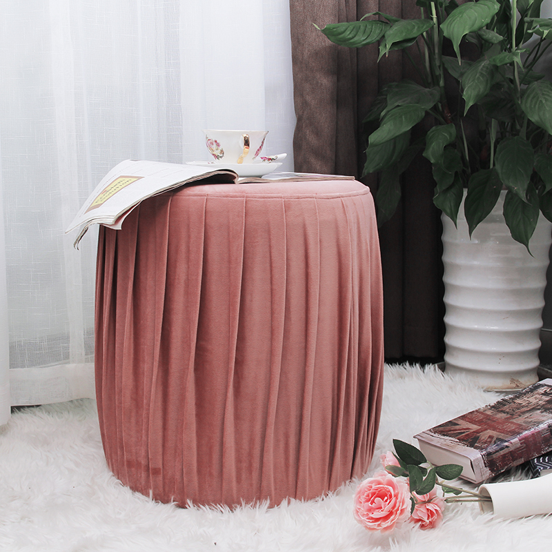 Nordic style living room furniture round footstool bench makeup pink shoes changing stool velvet ottoman fabric pouf