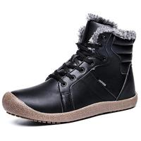 2019 Non-slip Thick Velvet Short Waterproof Women Leather Boots Shoes Winter Mens Leather Boots