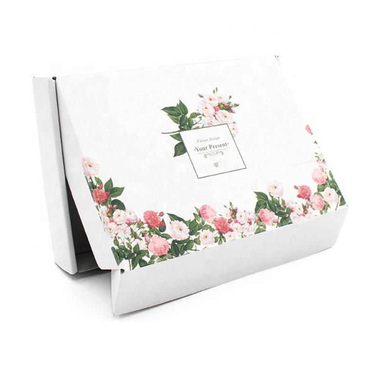 재활용 흰색 로고 인쇄 플립 상단 종이 사용자 정의 골판지 메일 링 브래지어 포장 상자 인쇄