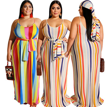 2020 Women Apparel Wholesale Plus Size 5XL Sleeveless Loose Striped Sling Sexy Casual Summer Dress