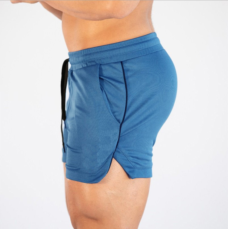 Summer New Solid Color Men's Mesh Quick-drying Fitness Shorts Basketball Training Pants 4
