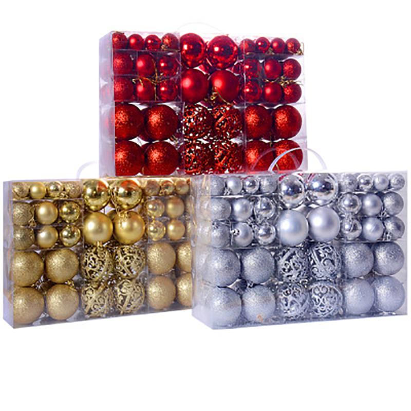100 Pcs Pohon Natal Ornamen Set 30-60 Mm Mini Pecah Natal Bola Ornamen untuk Dekorasi Natal