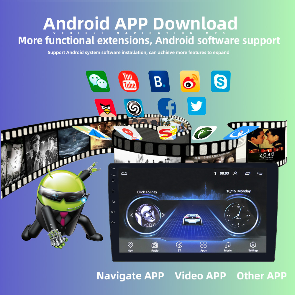 2din 10 zoll multimedia 1 + 16G gps navigation unterstützung bluetooth mp5 player android auto stereo