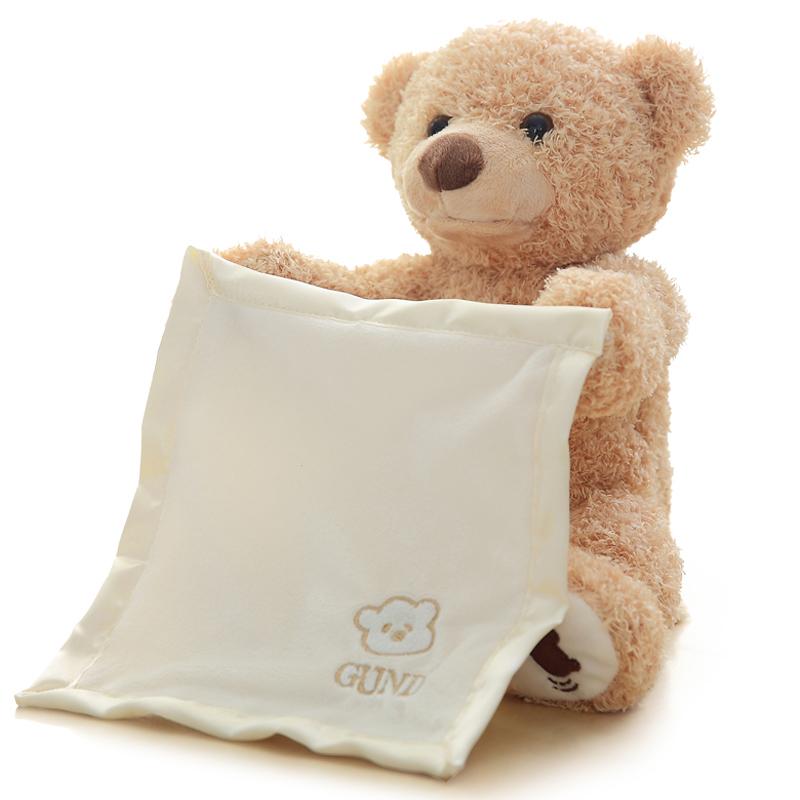 การศึกษาไฟฟ้า Peekaboo ตุ๊กตาหมีดนตรีพูด Plush ของเล่น Peekaboo ตุ๊กตาหมี