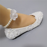 Shoes Women Flats white light ivory Lace Flower Pearl Rhinestone Beaded Anklet Wedding Shoes for Bride Handmade Children Shoes
