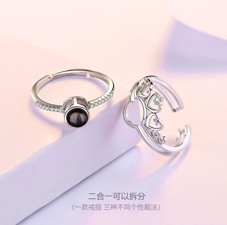 2020 Christmas 925 Sterling silver love memory 100 languages i love you projection couple crown ring jewelry