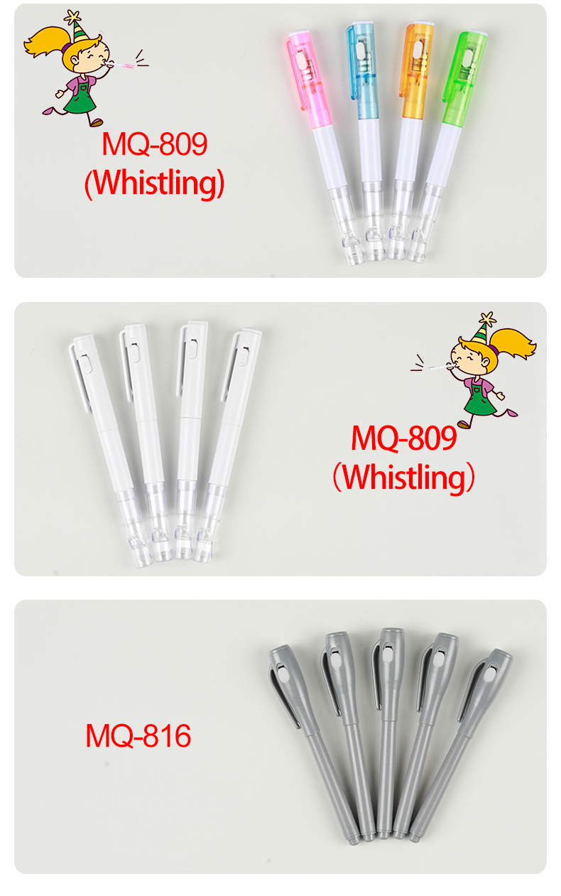 Cixi Factory MQ-809 multifunctional Whistle LED Ball Pen