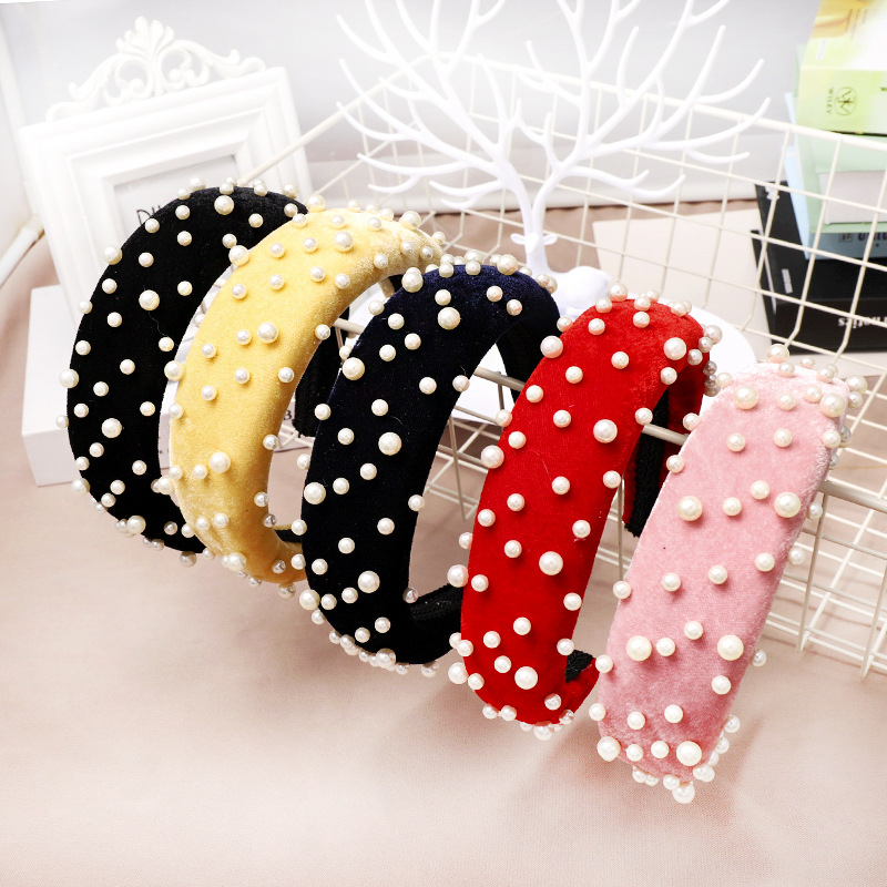 Vintage Fashion hair Accessories wrap Hairband ladies Velvet headbands cheap with pearl thick sponge Padded headband for women