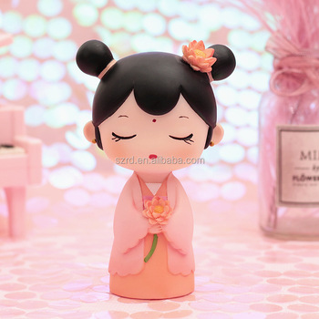 Beautiful cartoon girl 3D mini resin baby figurines