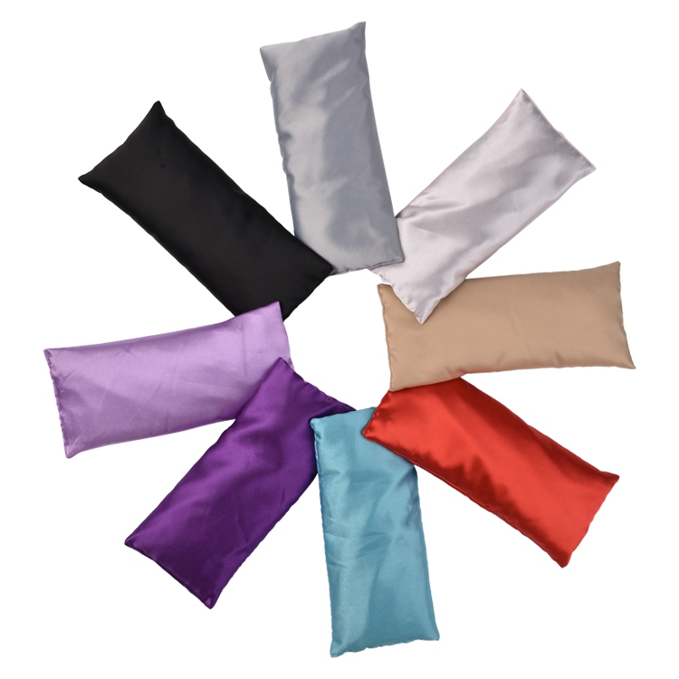 Custom logo colour wholesale silk satin weight herbal flaxse seed lavender aroma scented meditation relax yoga sleep eye pillows
