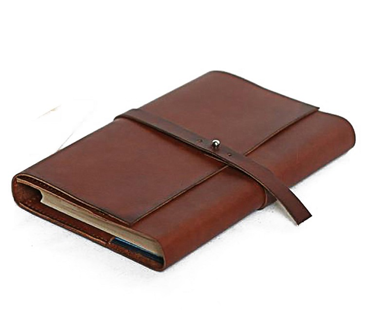 Notebook leather bound refillable journal hot stamping laser LOGO vegetable tan genuine leather blank paper personalized journal