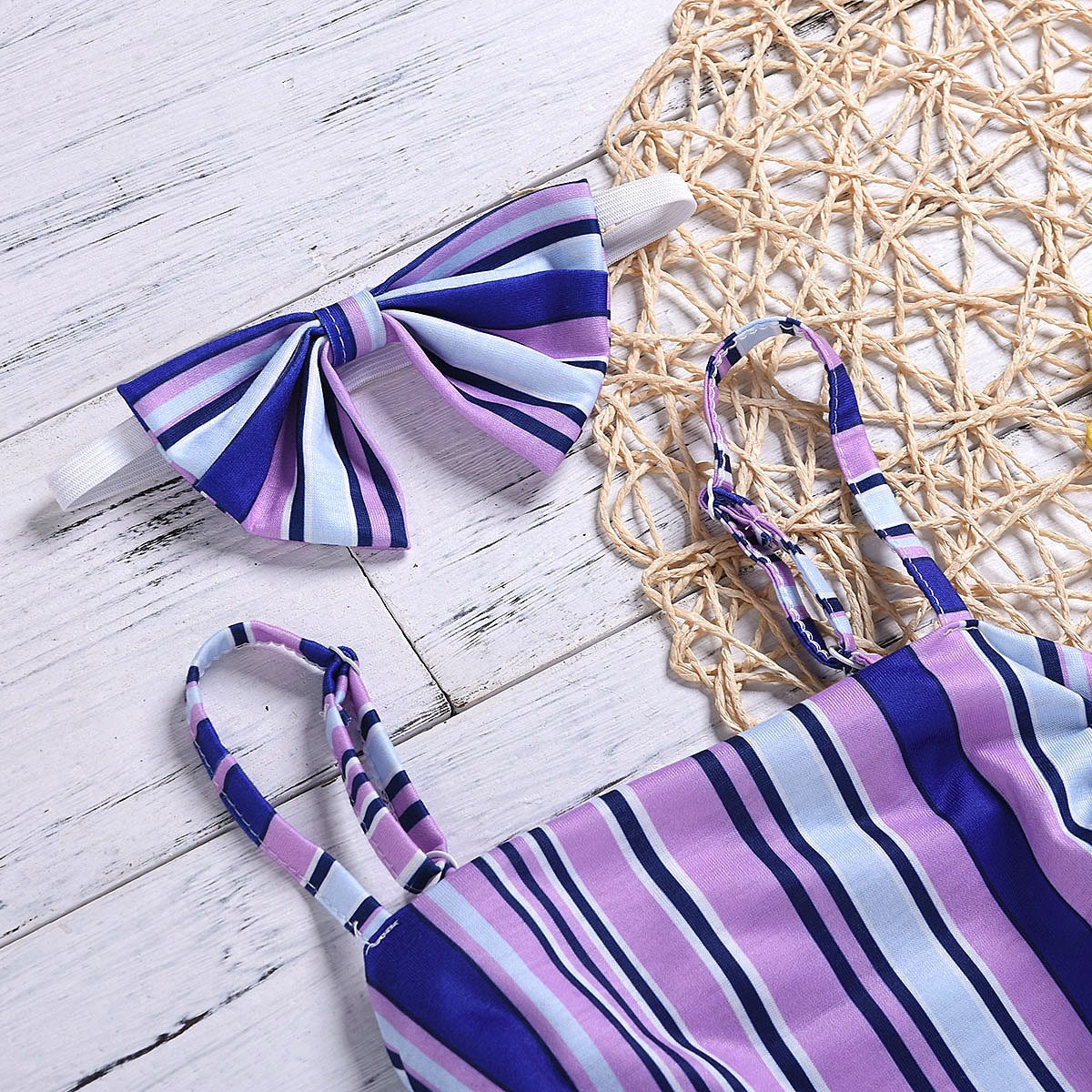 2 Pcs Baby Girl Summer Suit Stripe Purple Top And Dress Kids Clothing Sets Girl Clothes 3T Set