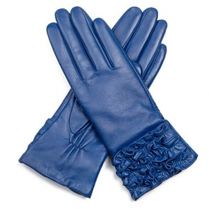 GL Top Quality Fashion Ladies Dress Blue Leather Gloves Winter Gloves Women