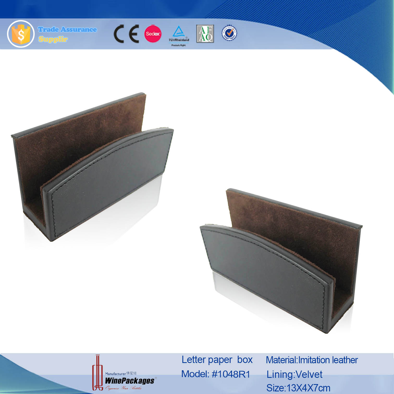 Factory Wholesale Handmade High Quality Faux Leather Office Stationery