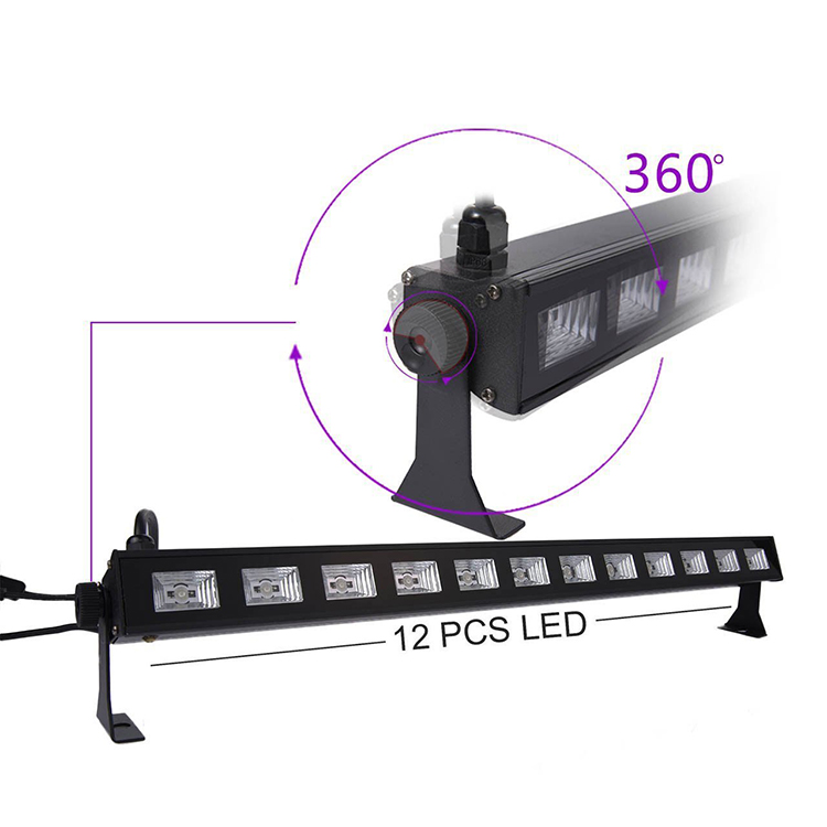 UV LED negro luz de la barra con 12 LED x 3W luces de discoteca