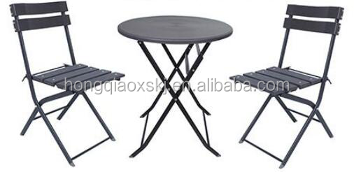 Dia 60cm wood garin blow molded plastic folding round table and chairs set, lightweight cheap wholesale small cafe table
