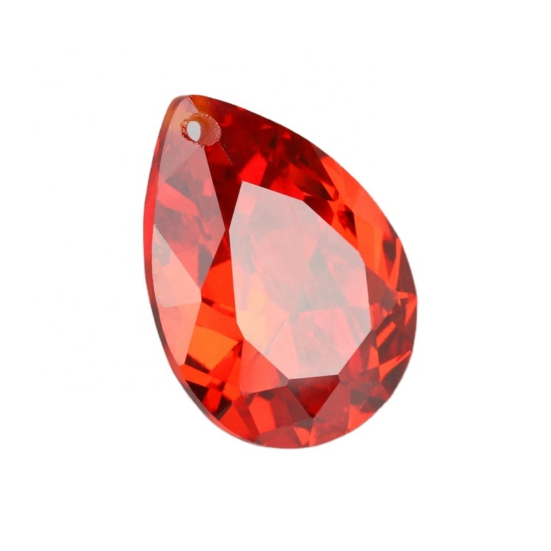 Factory wholesale <strong>pear</strong> cut orange color lots sizes cubic <strong>zirconia</strong> gemstone hole fire stone for pendant jewelry