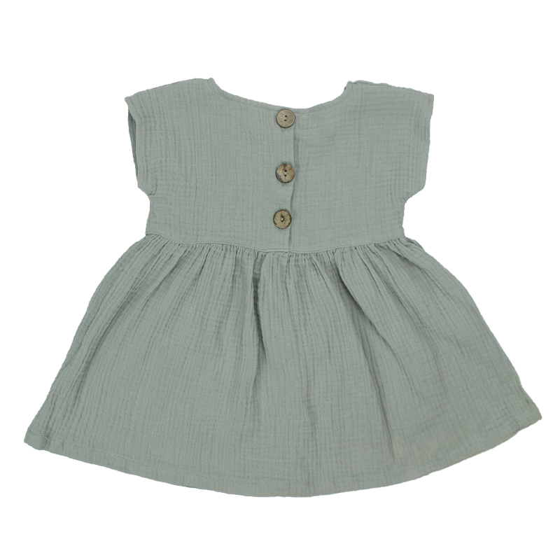 Boutuque kids clothing girls dress Short sleeve With front buttons Organic muslin cotton Baby dress