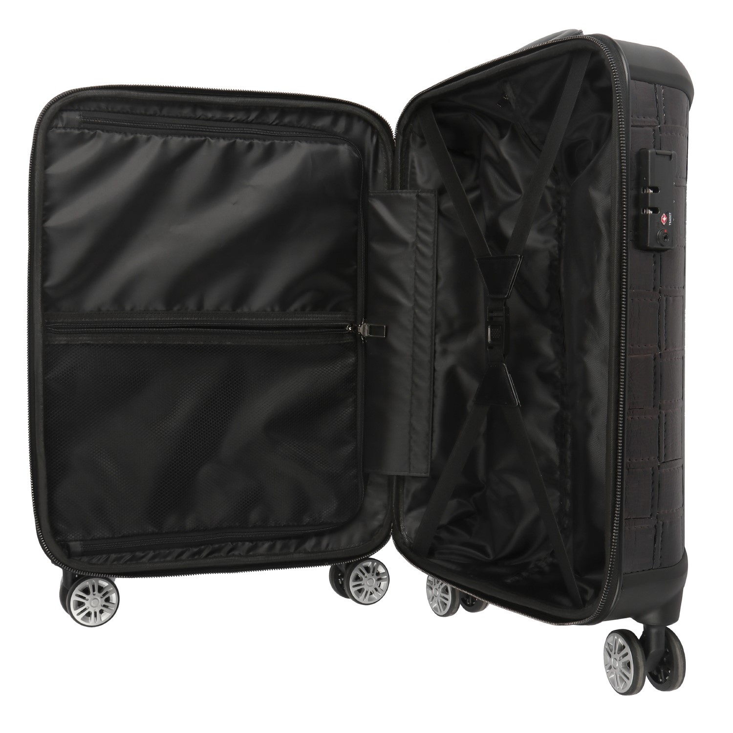 2020 New arrival black PU leather men carry on luggage suitcase