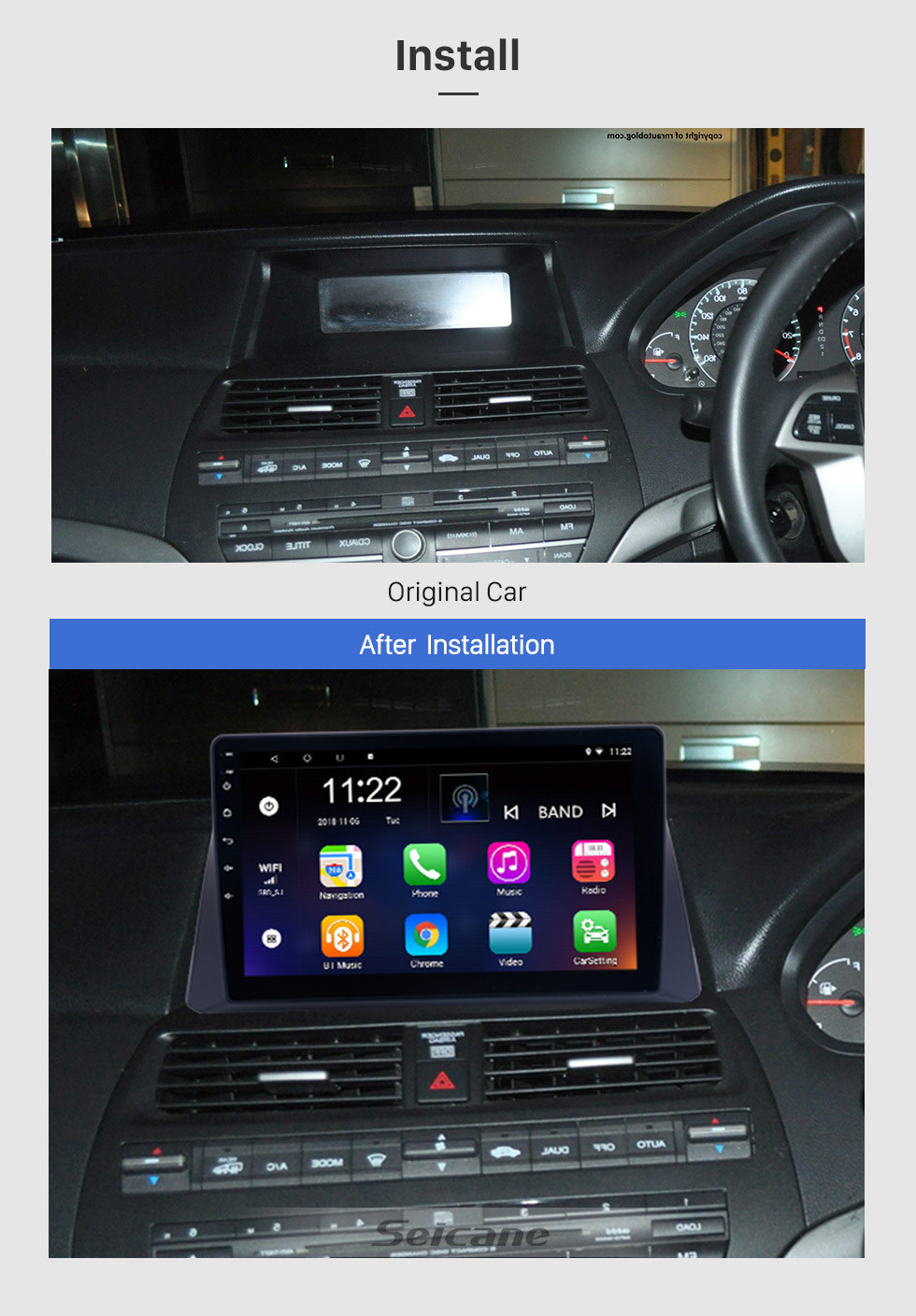 10.1 inch Android 8.1 Radio GPS Navigation for Honda Accord 8 2008 2009 2010 2011 2012 Bluetooth Music WiFi USB Mirror Link Car Stereo Support DVR OBD2 Steering Wheel Control Backup Camera