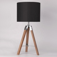 Hot sale CE ROHS SAA tripod wood fabric desk table lamp