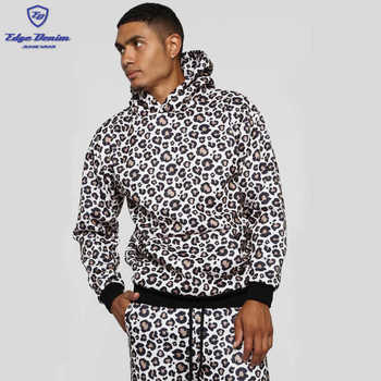 Wholesale winter 100% Polyester men's leopard hoodies and sweatshirts for men