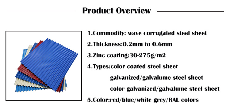 Zinc Coated Corrugated Iron&Steel Sheet/ Galvanized Roofing Steel Sheet