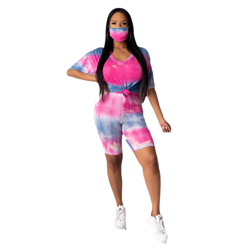 New Trendy Tie dye Casual Sport 2 Piece Set Women Clothing with Mask Wholesale Two Pieces Biker Shorts Set