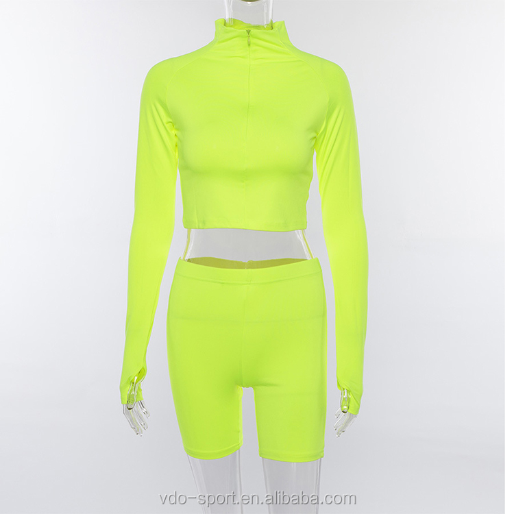 2019 Wholesale Front Zipper Fitness Sport Top Wear Plain Yoga Suit Womens 2 Two Piece Short Sets Sportswear