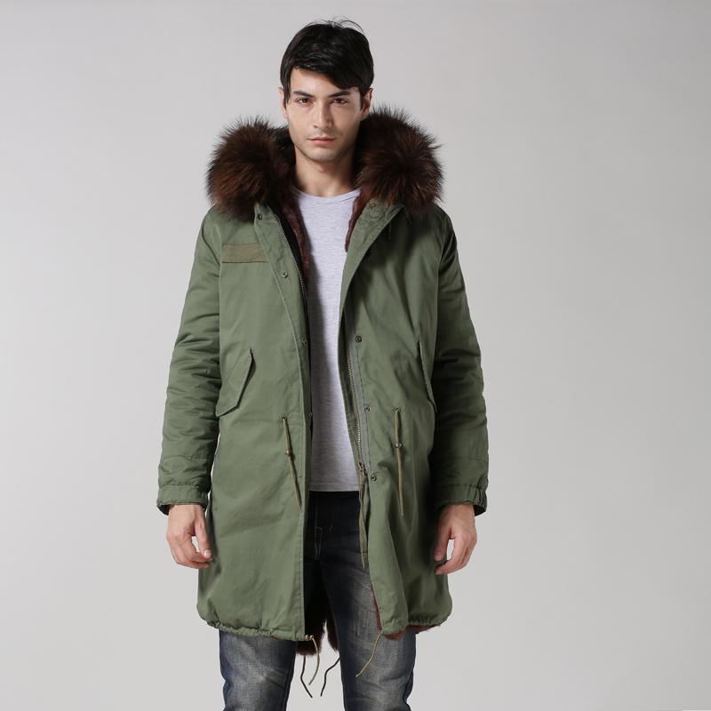 सबसे लक्जरी सर्दियों जैकेट आर्मी ग्रीन लंबी फर Casaco Militar ब्राउन के साथ पुरुषों के लिए एक प्रकार का जानवर फर कॉलर