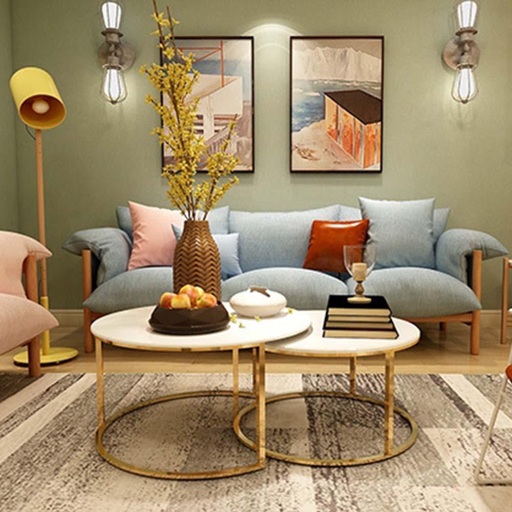 Mármol de café de acero sofá mesas para arte muebles oro mesa de café