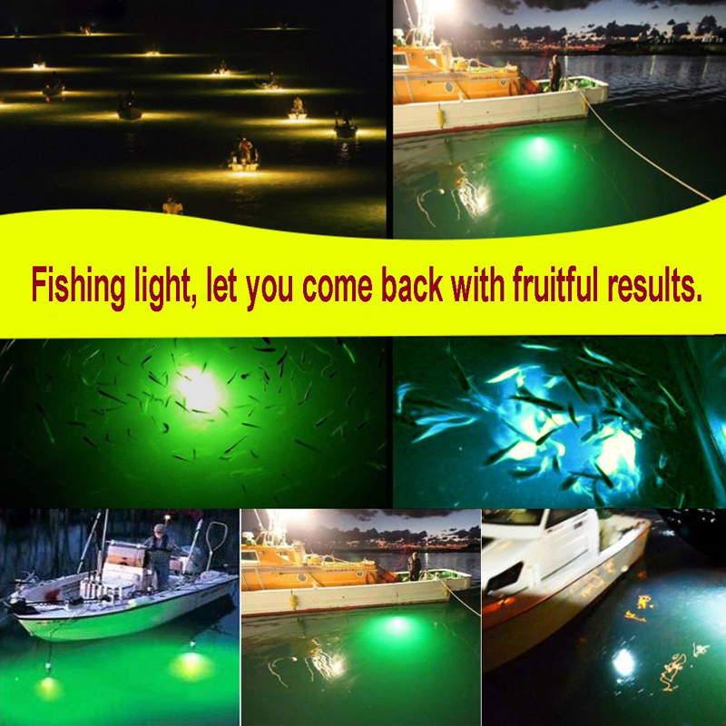 Fishing Light Underwater Fishing Light with 12V IP68 High Power Night LED Lure Bait Fish Finder Lamp White Blue Green