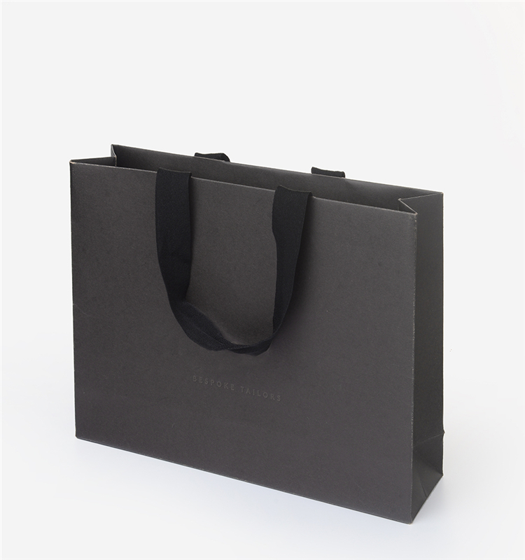 Custom Luxury Matte Black Gift Shopping Paper Bag With Logo For Clothing Packaging