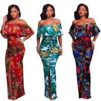 2019 high quality summer women floral printed bohemian off shoulder long maxi dress