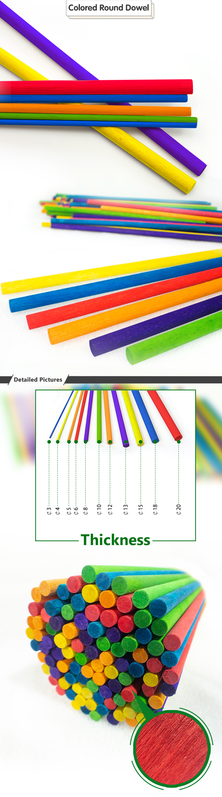 New Style High Quality Colored Wood Dowel Rods Round Color Craft Stick