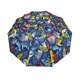 3 sections folding adversting pongee fabric umbrella with size 21 inch