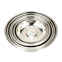 High Quality Kitchen Supplier 201 Stainless Steel Round Plate Food Stainless Steel Dishes