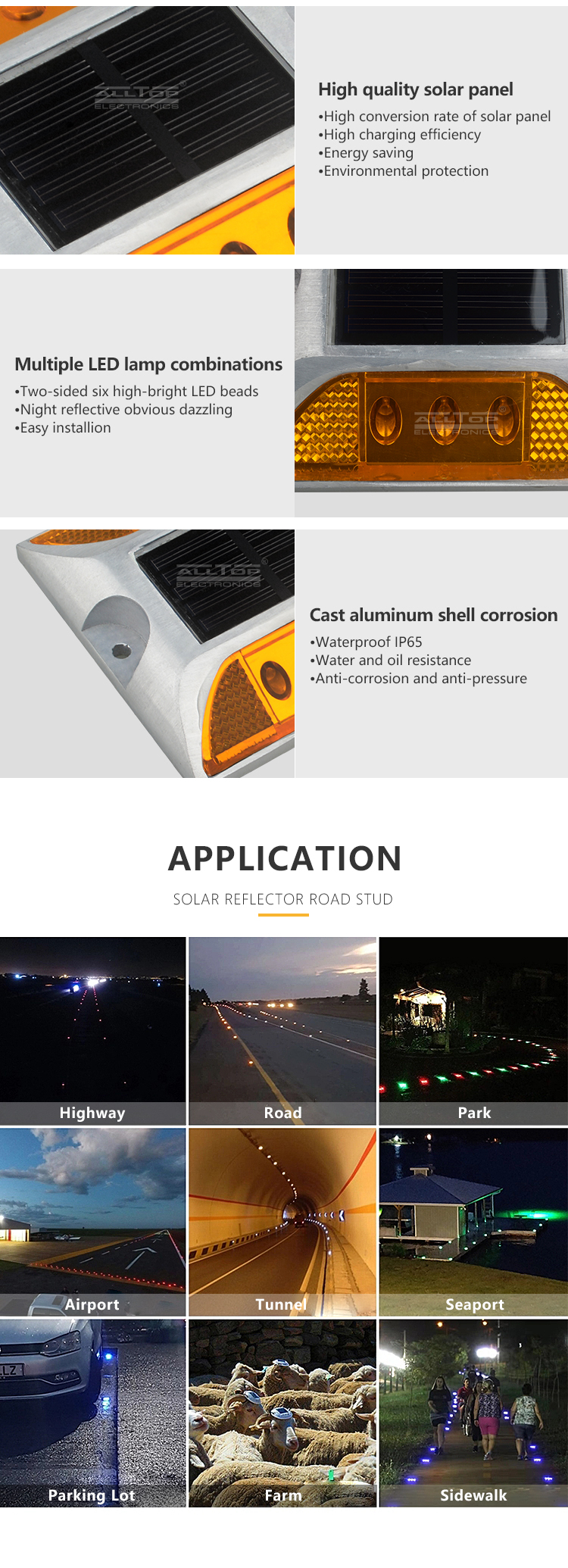 ALLTOP Outdoor Pathway Lawn Lighting Decorative Landscape Spike Lamp Waterproof Reflector LED Solar Road Stud