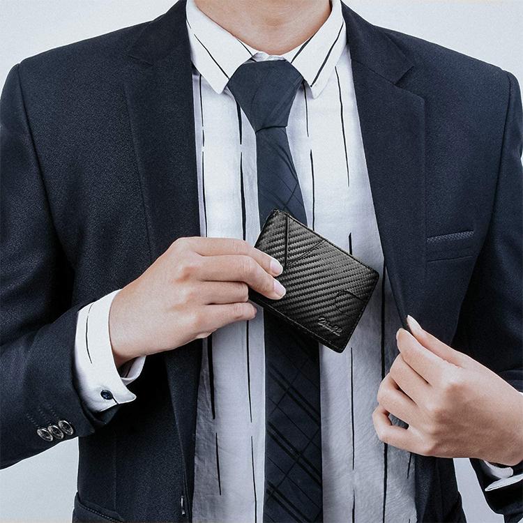 Amazon Product Men Slim Wallet Front Pocket Minimalist Carbon Fiber Leather RFID Blocking Card Holder Money Clip