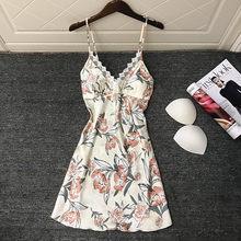 Женское кружевное белье, сексуальное ночное белье из искусственного шелка с глубоким v-образным вырезом и цветочным принтом, ночная рубашка...(Китай)