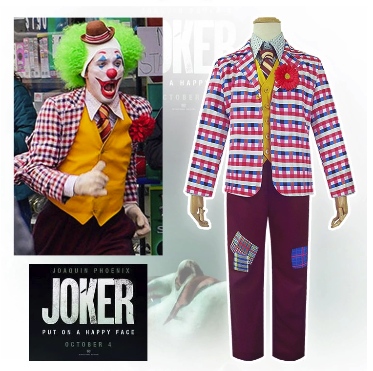 Hot selling 2019 nieuwe film joaquin phoenix cosplay volwassen joker clown halloween kostuum