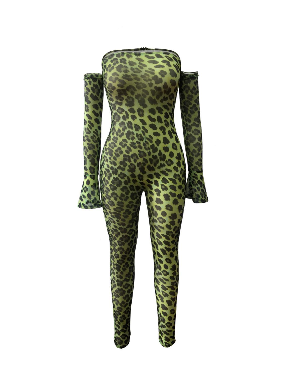 Женские сетчатые комбинезоны с леопардовым принтом Adogirl, сексуальные комбинезоны для ночного клуба вечеринки с открытыми плечами и длинным...(Китай)
