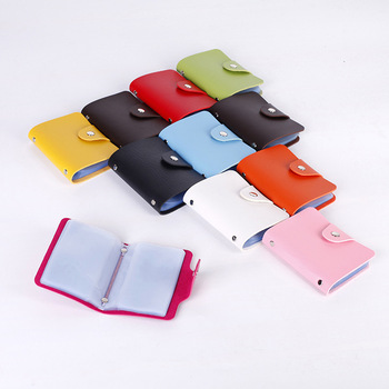 Multi Color Card Wallet PU Leather ID Card Holder With 24 Card Slots