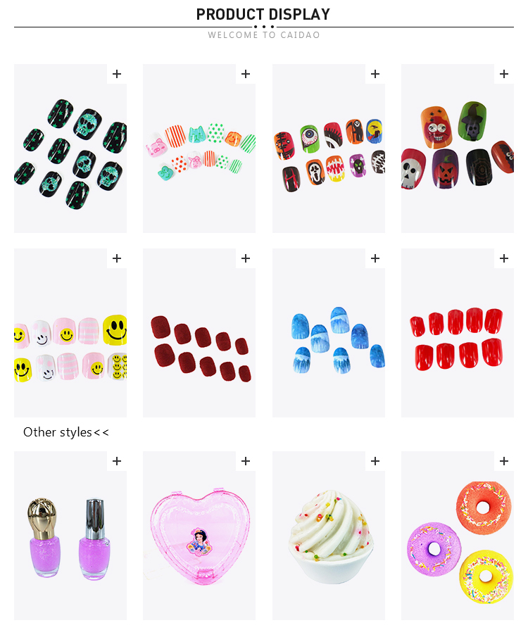 Artificial False Art round Salon Nail Tips Colorful Little Monster Pattern Design Halloween Holiday Fake Nails