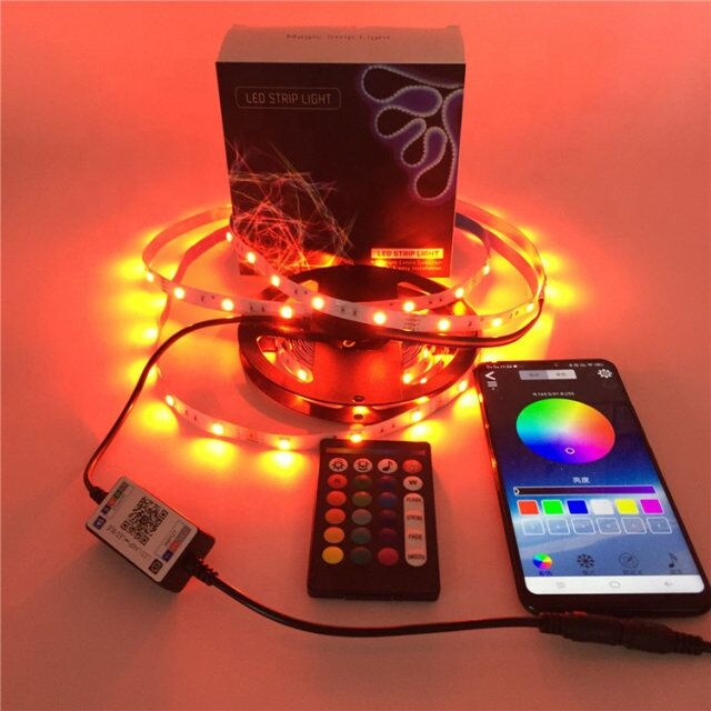 <strong>RGB</strong> 5050 16.4ft LEDs Color Changing led strip lights ,24key Remote Control and Power supply with Bluetooth Phone APP Controller
