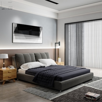 Modern Comfortable King Size Wooden Bed Frame With Headboard