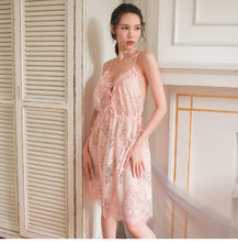 Сексуальная женская ночная рубашка сексуальная сетка кружева Глубокий v-образным вырезом женское белье, сексуальная ночная сорочка без рук...(Китай)